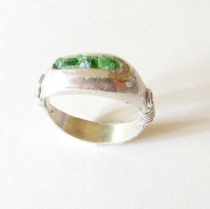 O.O.A.K. Sterling Silver Ring with Green Sea Glass by LulyJewelry, $120.00