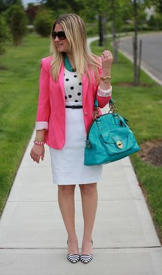 pink blazer, polka dots, striped shoes, so cute for work.  This site has so many business casual ideas, click through to explore them all!