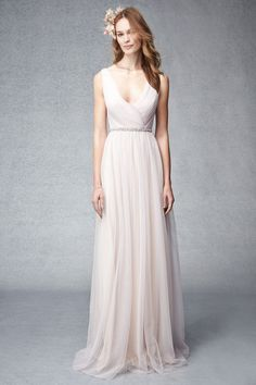 Blush multi-toned shirred tulle gown with v-neck. Please schedule your appointment for bridesmaids dresses at J.J. Kelly Bridal. www.idoappointments.com
