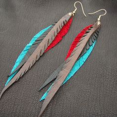Leather Feather Earrings red teal brown and by CyclonaDesigns