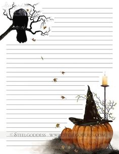 Cute Stationery, Stationery Paper, Page Boarders, Stationary Printable, Vintage Halloween Images, Journal Paper, Journal Cards, Borders For Paper, Autumn Theme