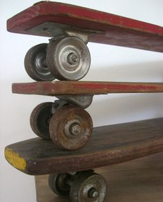 Vintage Skateboards. Steel Wheelers!. Hit a rock and you are air-born baby!