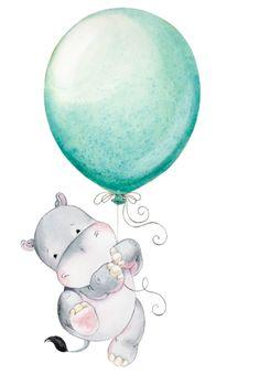 Hippopotamus Hippo Watercolor Hippo Baby Hippo Watercolor Nursery Nursery Decor Nursery Art Hippo Nursery Nursery Hippo Art - Color Name Baby - Ideas of Color Name Baby - Geboortekaartje? Tekst in ballon? Art And Illustration, Nursery Wall Art, Nursery Decor, Baby Decor, Art Mignon, Baby Art, Cute Drawings, Art Reproductions, Fine Art Paper