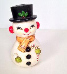 Vintage Snowman Bell Figurine