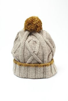 Bobble cable knit hat by Universal Works--love this colour-combo Knitted Headband, Knitted Hats, Knit Crochet, Crochet Hats, Cable Knit Hat, Beanie Hats, Beanies, Knit Beanie, How To Purl Knit