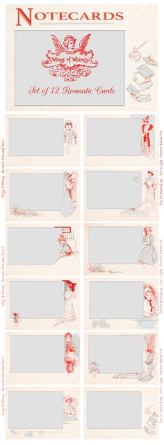 Wings of Whimsy: Set of 12 Romantic Journal / Notecards from 1909