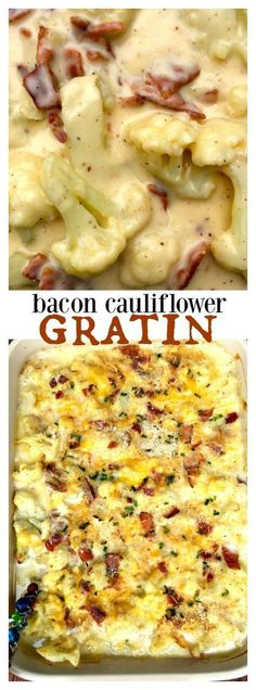 Cauliflower Bacon Gratin - delicious side dish for Easter or springtime entertaining