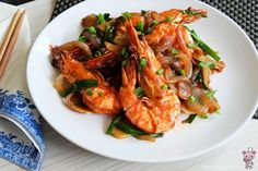 King Prawns with Ginger and Spring Onions 姜葱大虾 - Bear Naked Food