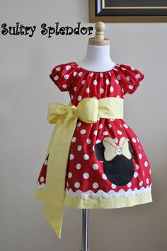 Red Polka Dots Minnie Mouse Peasant Dress with Applique - On Sale. $39.99, via Etsy.