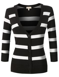 Womens Lightweight 3/4 Sleeve Striped V Neck Cardigan