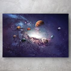 Solar System Sky Space - 1 Piece / 18in x 12in / canvas