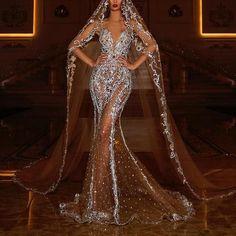 Ladies Fashion Sexy Deep V-Neck Sheer Dress – streettide Prom Girl Dresses, Glam Dresses, Dream Wedding Dresses, Bridal Dresses, Wedding Gowns, Fashion Dresses, Stunning Dresses, Beautiful Gowns, Elegant Dresses