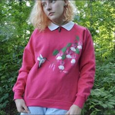 PRICE DROP Adorable pink hummingbird and flowers sweater! in - Depop  Morning Sun 61e86b6f3