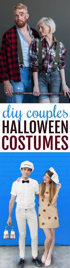 This year I'm determined to find the perfect DIY Couples Halloween Costumes for me and my boyfriend, and while I found some super cute ones I thought I would share them with you, too! Cheap Halloween Costumes, Halloween Crafts For Kids, Halloween Projects, Diy Halloween Decorations, Halloween Party, Craft Projects, Craft Ideas, Project Ideas, Sewing Projects