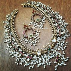 Customized Alert!! Pure silver antique gold plated guttapusalu aaram set. Stones are semi precious cut stones & CZ  Pearls are cultured fresh water Pearls    So, is it a wow !!!     Enquiries to artee.manifattura@gmail.com    #guttapusalu #bcositssilver #cz #czstone #peacockearrings #chandbaliearings #pearls