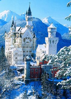Neuschwanstein Castle in Bavaria, Germany. The inspiration for the castle in Beauty & the Beast. A definite must-visit.