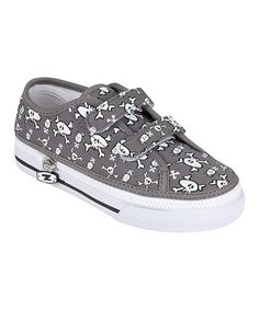 Take a look at this Gray Skullz Two-Strap Sneaker by Zipz Shoes on #zulily today!
