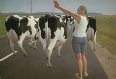 Stop for Cows by Alex Colville on Curiator, the world's biggest collaborative art collection. Alex Colville, Canadian Painters, Canadian Artists, Christopher Pratt, Royal Canadian Navy, Tate Gallery, Digital Museum, Bachelor Of Fine Arts, Magic Realism