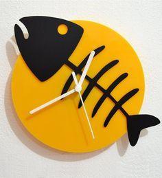 Blacksmith Fish Bone Black & Yellow Silhouette Engineered Wood Wall Clock by Blacksmith Online - Contemporary Clocks - Home Decor - Pepperfry Product Contemporary Clocks, Modern Clock, Modern Wall, Clock Art, Diy Clock, Clock Decor, Wall Clock Online, Cool Clocks, Wall Clock Design