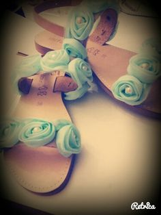 Handmade real leather sandals with flower and pearls