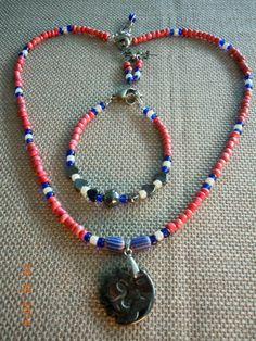 Agnysse - Native Red hematite pendant set -1 (taken by my niece - Nathaynia Ng)