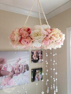 Floral Mobile/Nursery Mobile/Vintage Rose Wreath/Crib Mirror, Phone, Furniture, Home Decor, Homemade Home Decor, Telephone, Mirrors, Home Furniture, Interior Design