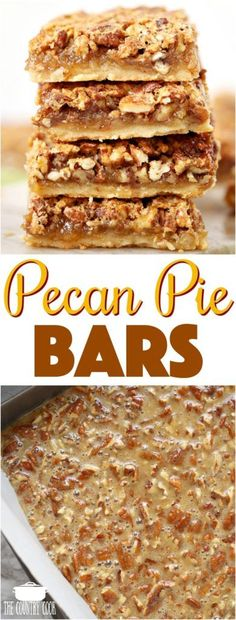 Easy Pecan Pie Bars with a shortbread crust recipe from The Country Cook #desserts #pecan #bars #easy