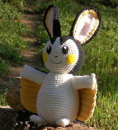 WolfDreamer: Emolga Plush from Pokemon Pokemon Crochet Pattern, Crochet Animal Patterns, Plush Pattern, Stuffed Animal Patterns, Amigurumi Patterns, Amigurumi Doll, Free Pattern, Pikachu Crochet, Amigurumi Tutorial