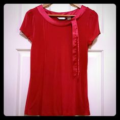 JUST IN TIME FOR VALENTINE'S DAY Top Looks like your casual girlish Tee with added flair at the collarbone leave straight or tie in bow.  Wear with your favorite boyfriend jeans.  Have fun with this top! 95% Rayon 5% Spandex Willowbay Tops Tees - Short Sleeve