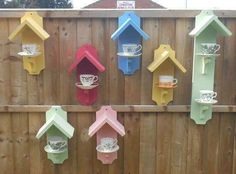 Bird feeders from tea cups.  Photo only.