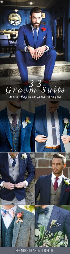 33 The Most Popular Groom Suits ❤ And the choice of groom suits becomes one of the most important events. The perfect suit well fits a groom and suits him, reflects his personality. See more http://www.weddingforward.com/groom-suits/#groom #groomsmen