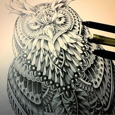 """""""Great Horned Owl"""" repost of a custom tattoo design. Graphite drawing in Bristol… Owl Sketch, Celtic Tribal, Great Horned Owl, Bristol Board, Graphite Drawings, Tatting, Tattoo Designs, Artwork, Custom Tattoo"""