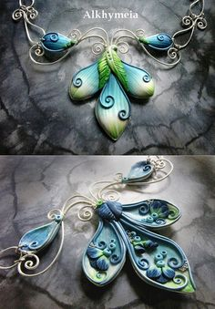 beautiful polymer clay and wire necklace - reversible since it's gorgeous both ways!
