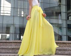 Hermoso moño gasa falda Maxi faldas de seda por Dressbeautiful