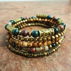 Boho Gypsy Bracelet, Wrap Around Bracelet, Beaded Memory Wire Bracelet, Bloodstone, Jasper, Antique Brass, Green Pink Brown on Etsy, $39.95