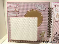 PopPerScraP: Álbum bebe Dayka niña Album Scrapbook, Notebook, Aurora, Scrapbooking, Vestidos, Baby Scrapbook Layouts, Baby Mini Album, Blue Prints, Crafting