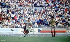 England 1 Romania 0 in 1970 in Guadalajara. Geoff Hurst gets away from Cornel Dinu in the Group 3 clash at the World Cup Finals.
