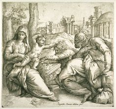 Giovanni Battista Franco (Battista Franco Veneziano), c.1510-1561, Italian, The Holy Family on their Flight, Resting among the Ruins, 16th century.  Etching: 19.3 x 20.7 cm.  Fine Arts Museums of San Francisco.  Mannerism.