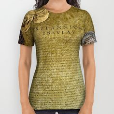 Premium quality American Apparel shirts feature original art from seam to seam. The cotton-soft 100% polyester wicks moisture and maintains a rich color throughout.  All over print tees are unisex fit, so women should make size selections at least one size smaller. https://society6.com/product/ancient-latin-report-re-roman-british-isles-1gj_all-over-print-shirt?curator=skyeryanevans