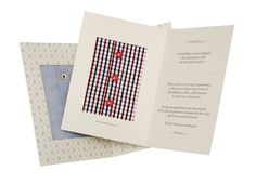 When you give the gift of a custom shirt, he'll receive a card with an inset of fabric that includes details such as buttons and is as impeccable as the final product.$195 each