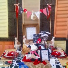 #Babyshower #tablescape #tablesetting #table #decor #ocfair #redwhiteandblack #cow #hoedown #theme #country #party #entertaining #shower #creative #hay #cowprint