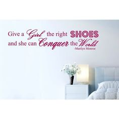 """NuCasa """"Give A Girl The Right Shoes ..."""" Marilyn Monroe Wall Sticker ($23) ❤ liked on Polyvore featuring home, home decor, wall art, marilyn monroe wall decals, typography wall art, wall lettering decals, word wall art and marilyn monroe home decor"""