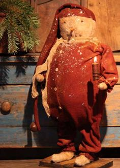 Snowman in Red Long Johns - Arnett's Country Store Christmas Reef, Cabin Christmas, Christmas Snowman, Winter Christmas, Christmas Stockings, Christmas Crafts, Christmas Decorations, Primitive Snowmen, Primitive Crafts