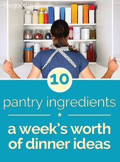Nothing fancy here! Make a week's worth of dinners with this grocery list of 10 pantry items. I Love Food, Good Food, Yummy Food, Freezer Meals, Quick Meals, Cooker Recipes, Crockpot Recipes, Paleo Shopping List, Cheap Meals