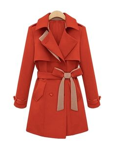 Long Pattern Belt Decorate Trench Coat For Women