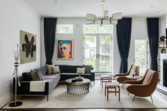 """Architectural Digest on Instagram: """"Measured and precise. That was the approach legal analyst and TV and radio host Dan Abrams (@dan_abrams) took to creating and decorating…"""" Residential Interior Design, Interior Design Companies, Living Room Designs, Living Room Decor, Living Rooms, Blue Backsplash, Design Salon, Art Deco Design, Townhouse Designs"""