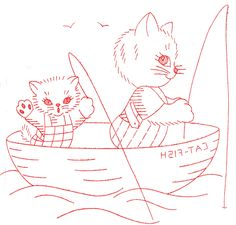 Vintage Embroidery - Kitty Family DOW - Catfish Boat