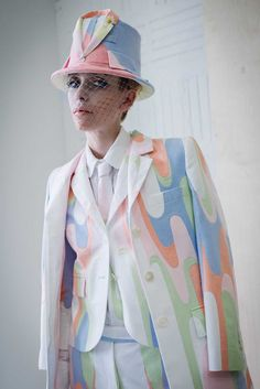 The Prettiest Pics From Fashion Week #refinery29 http://www.refinery29.com/fashion-week-spring-2015-behind-scenes#slide44 A psychedelic pastel dandy at Thom Browne.