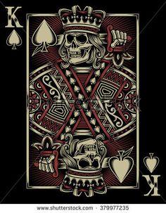 Buy Skull Playing Card by vectorfreak on GraphicRiver. fully editable vector illustration (editable EPS) of skull playing card on black background, image suitable for emble. Playing Card Tattoos, Playing Cards Art, Card Tattoo Designs, King Card, Art Carte, Skull Wallpaper, Skull Art, Dark Art, Vanitas