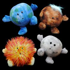 Celestial Buddies-  soft cuddly plushie versions of the Sun,Earth, Mars and the Moon :) How cute!